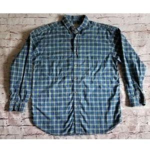 Wilderness Mens X-Large Blue Plaid Button Up Shirt